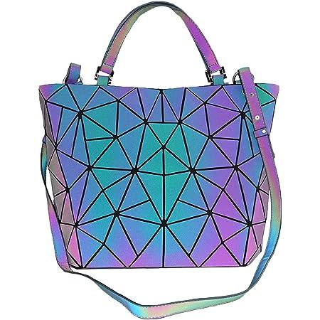 Geometrische leuchtende Geldbörsen und Handtaschen für Frauen, holografisch, reflektierend, Umhängetasche, Regenbogen-Tragetasche