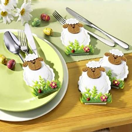 Logbuch-Verlag Lot de 6 moutons amusants de 5,5 cm Avec pastilles adh/ésives Blanc et marron D/écoration de P/âques D/écoration de table