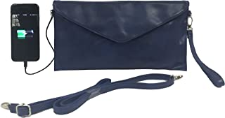 W4W Womans Tech Womens Envelope Charging Clutch Bag/Wristlet; Compatible with All Phones - 2,600mAh Battery Will Give Your Phone A Full Recharge - Retro Blue