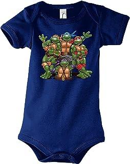 TRVPPY Baby Jungen & Mädchen Kurzarm Body Strampler Modell Turtles, Größe 3-24 Monate in vielen Farben