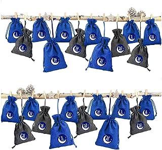 Paquete de calendario de Adviento de 1 a 24 bolsas de caramelos con patrón navideño, bolsa de regalo de lino y algodón