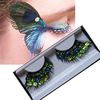 Lookathot 1 Pairs Feather False Eyelashes Eye Lashes- Natural Handmade Reusable Extensional Charming Sexy Funny Ladies Styles- Deluxe Party Stage Dance Costume