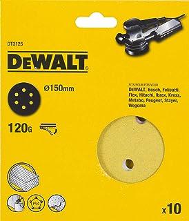 DeWalt 150 mm Sanding Disc Pack of 10, Multipurpose Wood/Paint- Dry - G120, Yellow/Black, DT3125-QZ