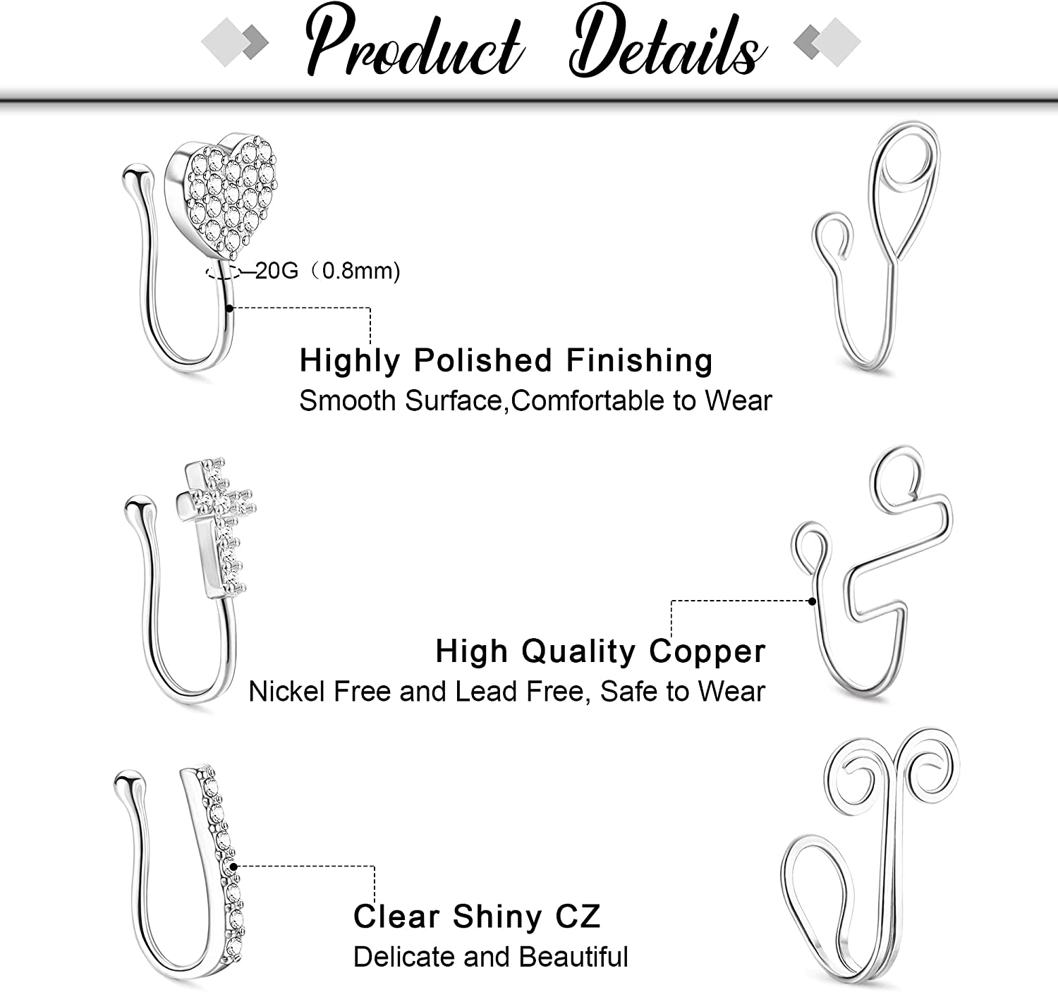 CASSIECA 6Pcs African Nose Cuff Non Piercing Fake Nose Ring Adjustable Nose Cuff Jewelry Clip on Faux Nose Ring for Women Men