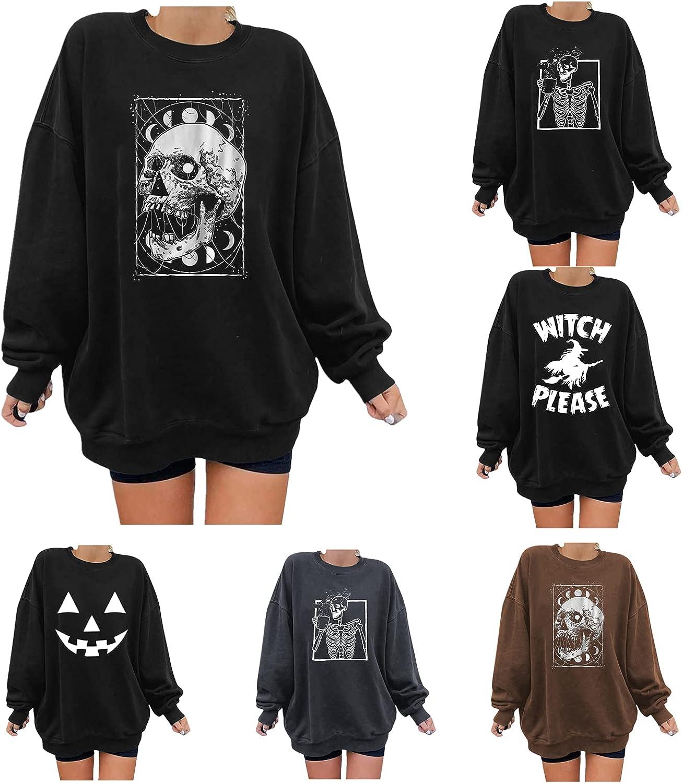 FABIURT Halloween Shirt for Women,Women's Long Sleeve Halloween Skull Graphic Crewneck Sweatshirts Pullover Tops