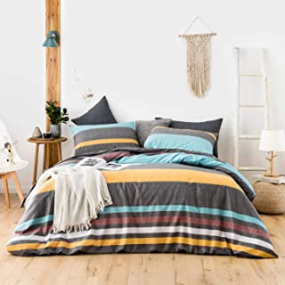 SUSYBAO 3 Piece Duvet Cover Set 100% Cotton Queen Size Multi-colored Horizontal Striped Bedding Set 1 Geometric Print Duvet Cover with Zipper Ties 2 Pillow Cases Luxury Quality Soft Breathable Durable