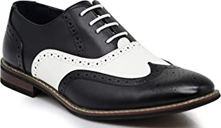 Wooden08N Men's Two Tone Wingtips Oxfords Perforated Lace Up Dress Shoes