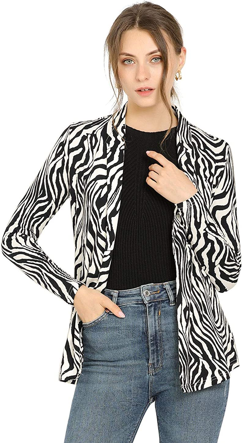 Allegra K Women's Long Sleeves Shawl Collar Open Front Straight Knit Cardigan