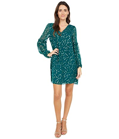 Lilly Pulitzer Cleme Silk Dress (Spruce Green Gold Metallic Silk Clip) Women