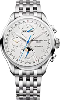 Baume & Mercier Clifton Mens 43mm Stainless Steel Automatic Chronograph Watch - Silver Face Full Calendar Moon Phase Swiss Watch For Men 10328