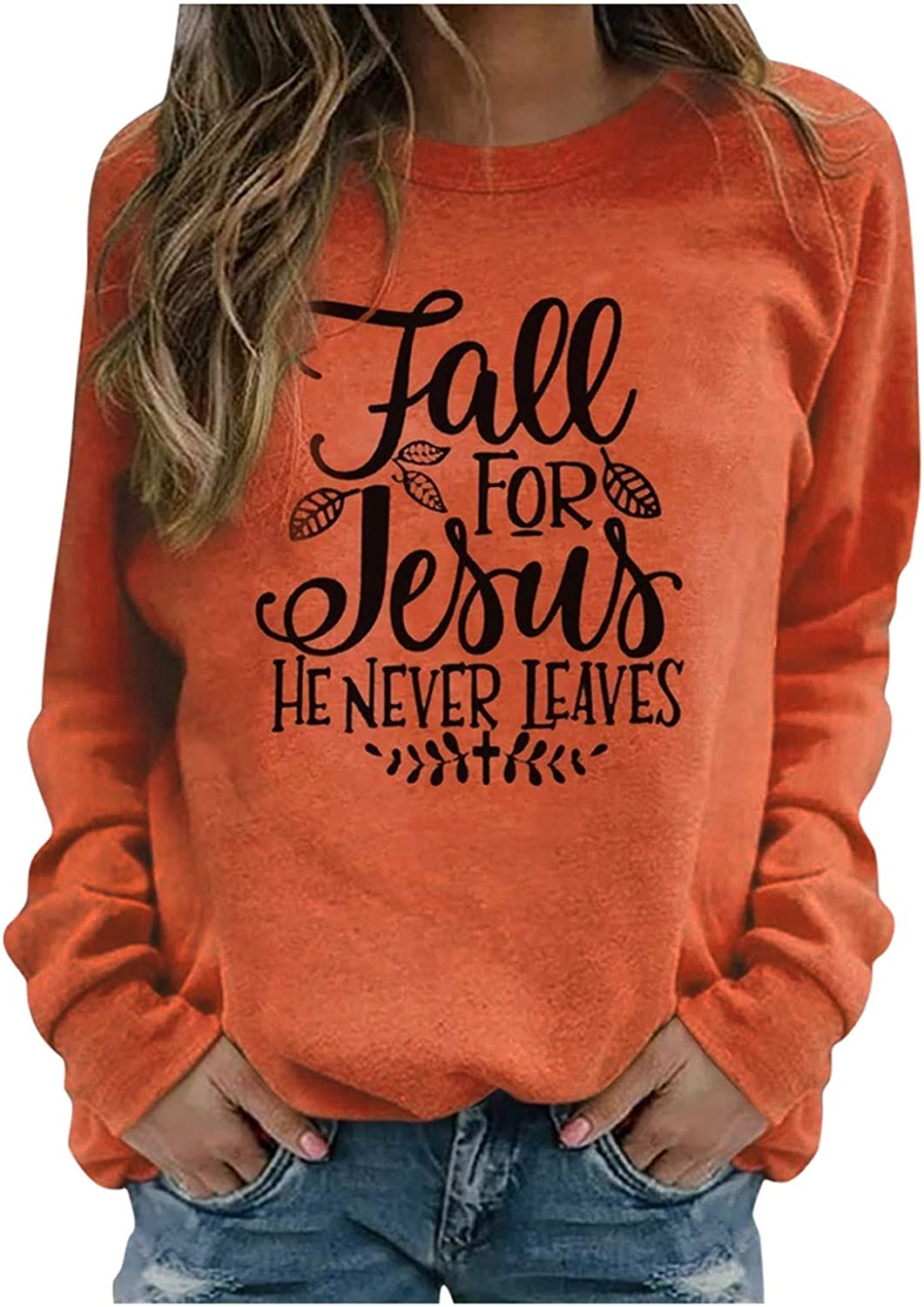 Fall for Jesus HE NECER Leaves Long Sleeve T Shirts for Women Christian Saying Faith Top Thin Crewneck Sweatshirt