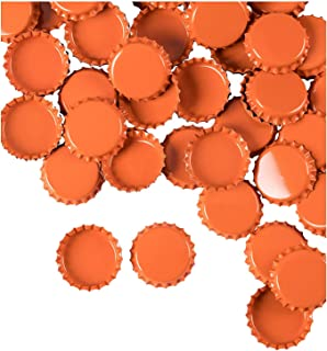 Bottle Caps- 120-Pack Craft Crown Bottle Caps, Decorative Bottle Caps, Perfect for Jewelry Making, Hairbows, Pendants DIY, Scrapbooking, Orange, 1 Inch Diameter