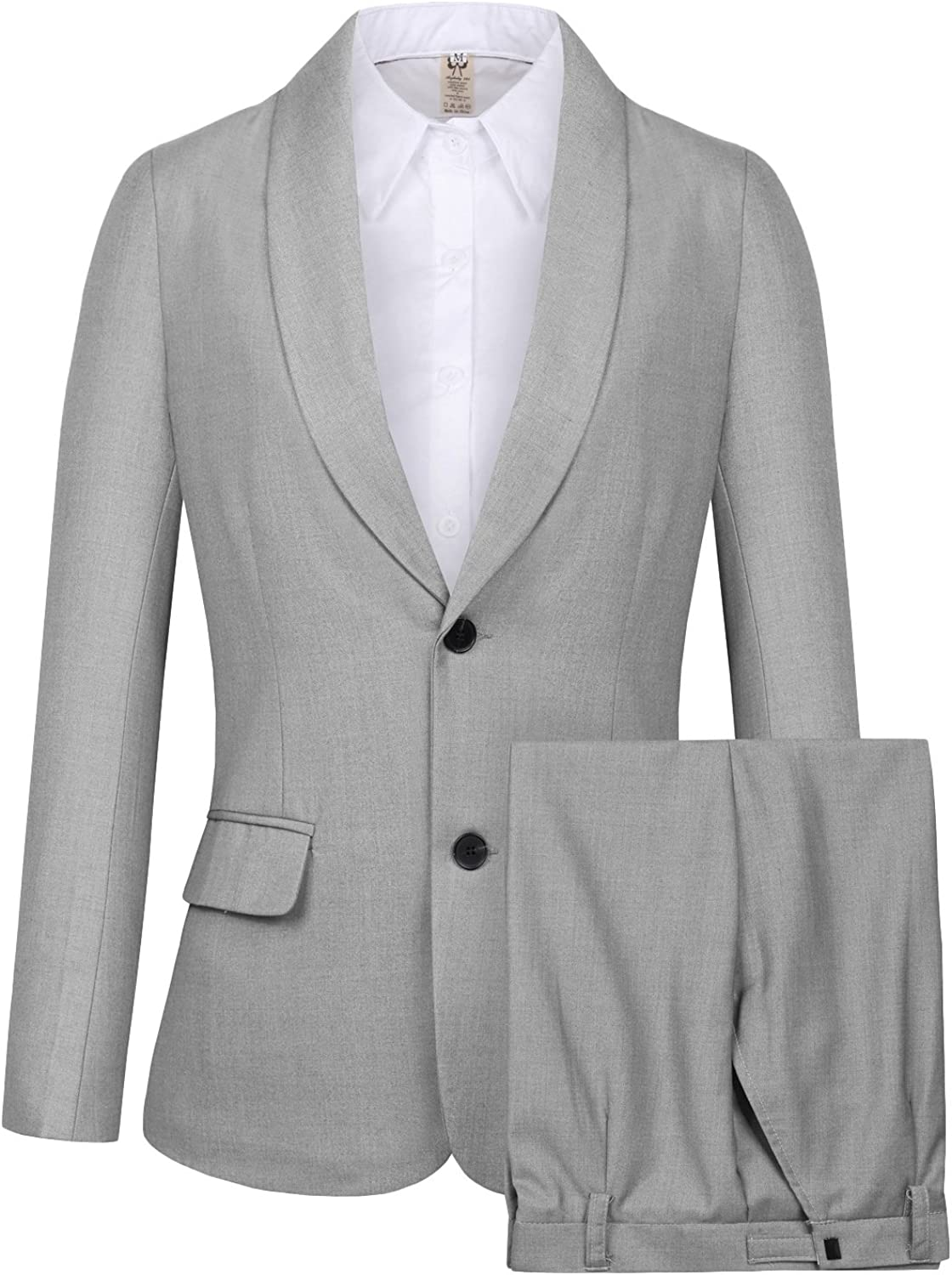 CMDC Women's 2 PC Business Casual Shawl Collar Formal Blazer Suit Pants Sets MI35