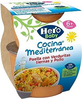 Hero Baby Cocina Mediterránea Paella con Verduritas Tiernas y Pollo Tarritos de Puré para Bebés a partir de 6 meses, 2 x 200 g