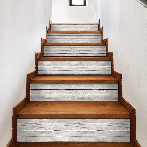 AMAZING WALL Wood Grain Stairs Self Adhesive Decoration Wall Sticker 7 1x39 4inch 6pcs