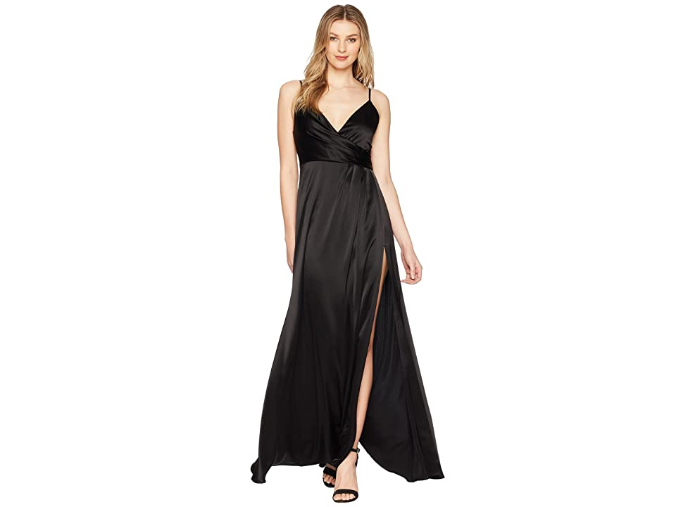 JILL JILL STUART Satin Back Crepe Slip Dress (Black) Women