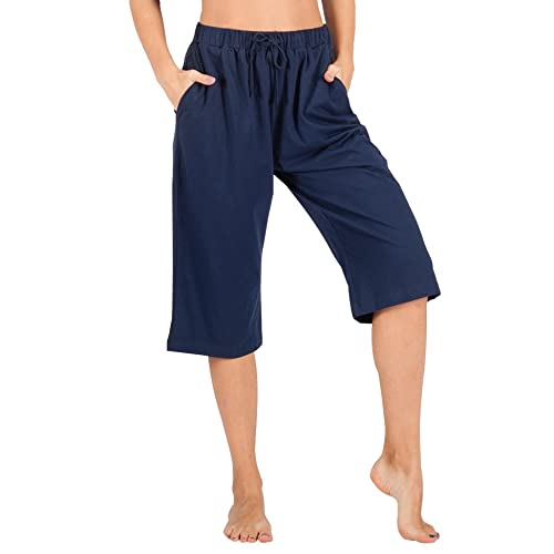 627c00b8329 WEWINK CUKOO 100% Cotton Women Casual Capri Pants Lounge Pants with Pockets