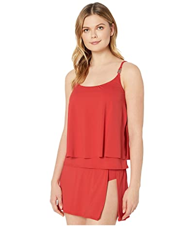 MICHAEL Michael Kors Iconic Solids Double Layer Tankini Top (Persimmon) Women