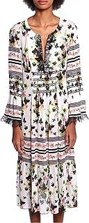 Anna Sui Womens White Multi Bouquet Bordered Butterflies Dress