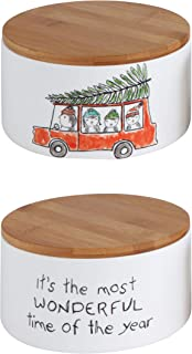 Creative Co-Op Ceramic Canister with Bamboo Lid, Penguin in Car