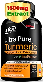 Turmeric Curcumin Supplement 19X Stronger -1500 mg of 95% Curcuminoids Extract Capsules - Pure Turmeric with BioPerine Gin...
