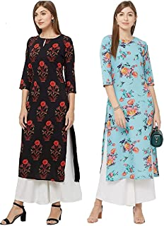 GoSriKi Women's Multicolor Printed Straight Kurta Pack of 02(Pista-Kurta & GUL-Black)