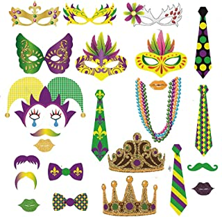 Mardi Gras Party Photo Booth Props - Masquerade Carnival Mardi Gras Party Supplies(24 Pack)