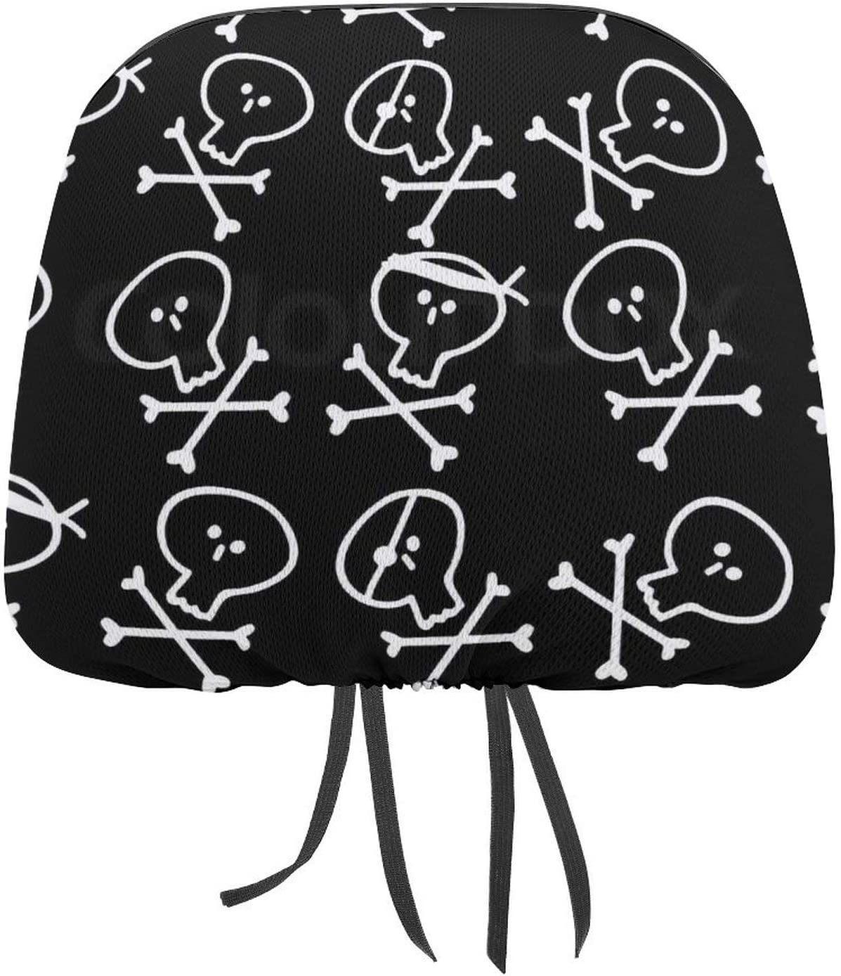 Car supreme Seat Head Rest Cover Cute Wo for Skulls OFFicial mail order Headrest Covers Draw