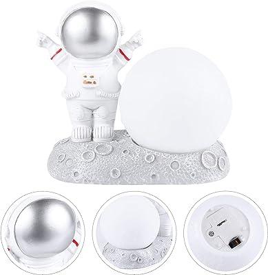 PRETYZOOM - Luz astronauta USB noche para astronauta Hombres Trampa Lámpara de lectura Gadgets Niños Lámpara de noche de resina creativa Apariencia de astronauta lámpara de noche regalo