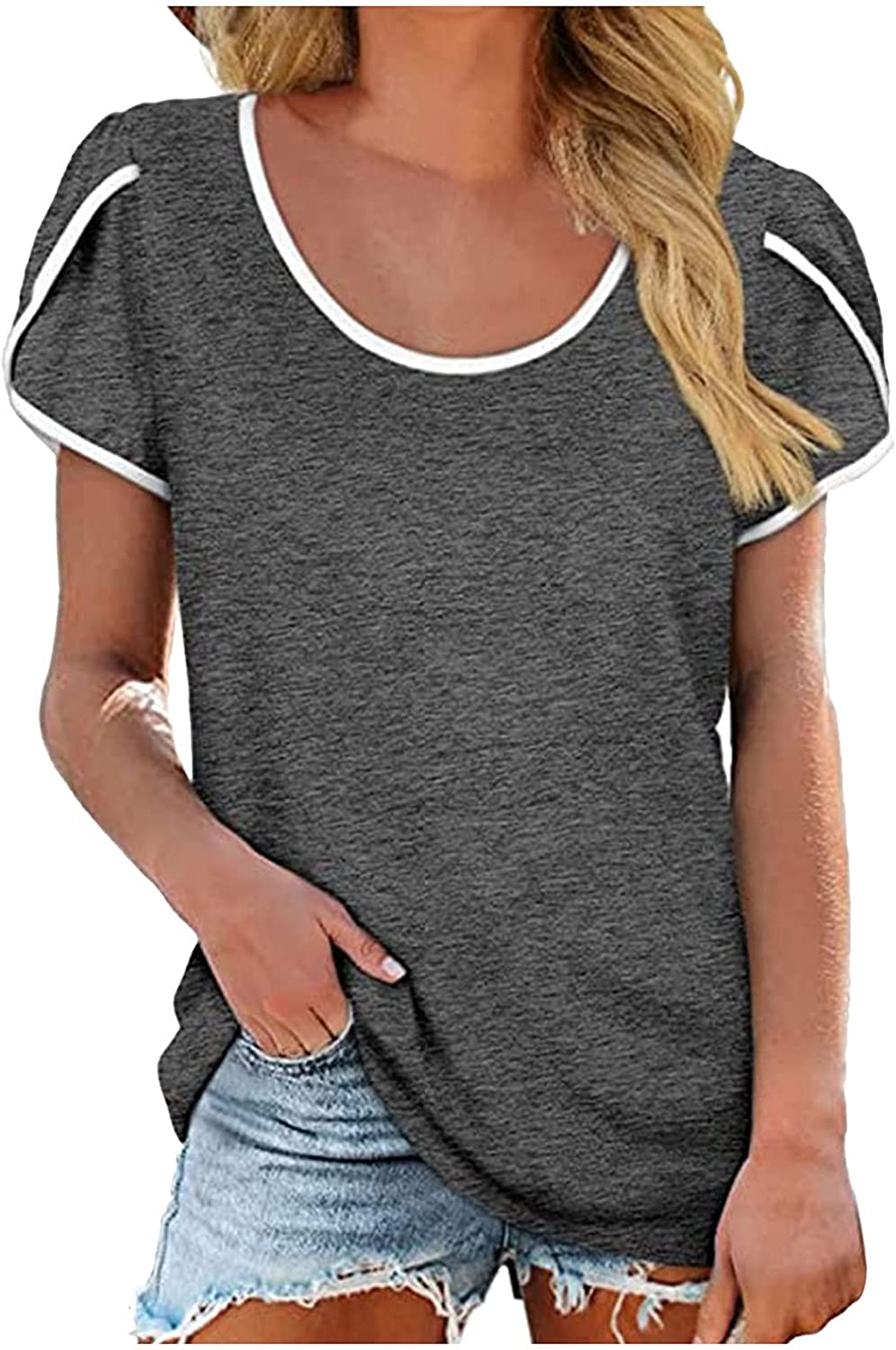 Women's Summer Casual Challenge the lowest price of Max 40% OFF Japan ☆ Solid Color Sleeve Print T-Shi Short Loose