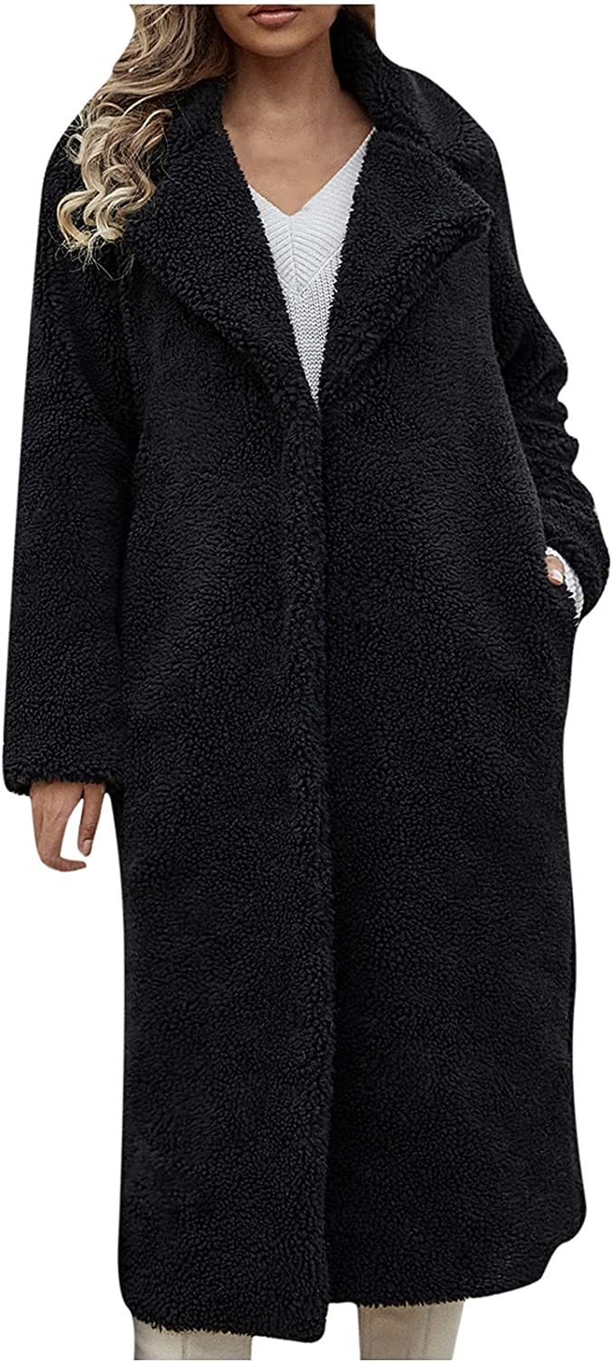 Yuege Womens Ladies Warm Faux Furry Coat Jacket Winter Solid Turn Down Collar Outerwear