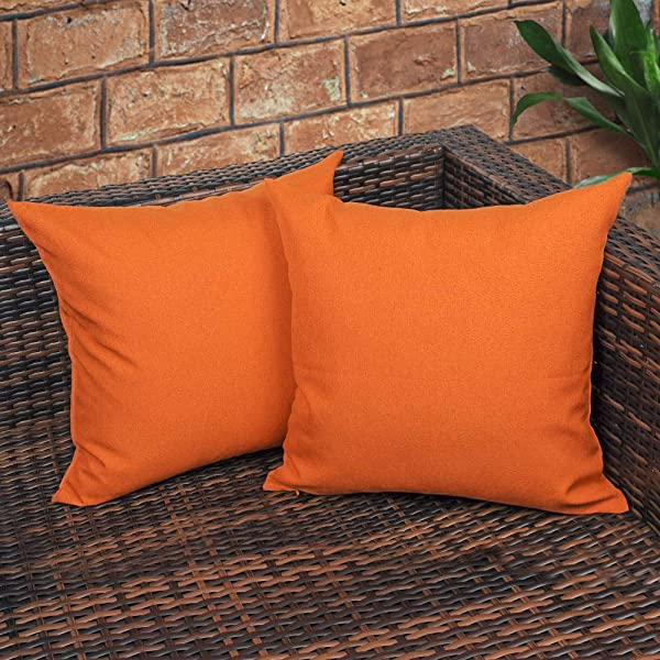 CZHO Pack Of 2 Decorative Outdoor Waterproof Throw Pillow Covers Square UV Protection Garden Cushion Case PU Coating Pillow Shell For Patio Porch And Balcony Orange 18x18 Inch