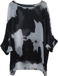 Women's Batwing Sleeve Round Neck Floral Printed Semi Sheer Tunics Poncho Top Casaul Summer Loose Chiffon Blouse Oversize 3/4 Sleeve T Shirt Bohemian Bikini Cover Ups Beachwear - Letsenvy