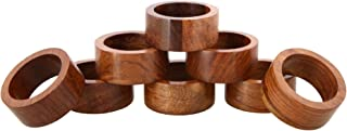 Shalinindia Handmade Wood Napkin Ring Set With 8 Napkin Rings - Artisan Crafted in India