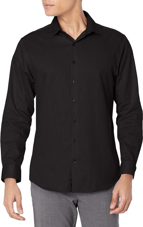 Kenneth Cole REACTION Men's Dress Fit Slim Stretch 新作多数 Shirt Collar 贈物