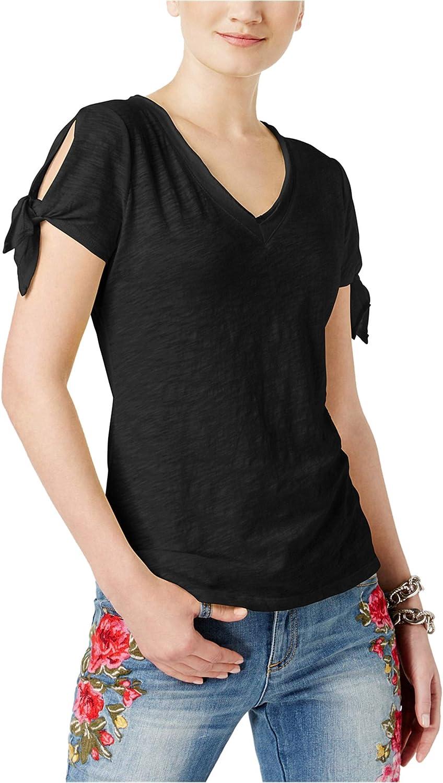 I-N-C Womens Tie Sleeve Basic T-Shirt Deepblack M