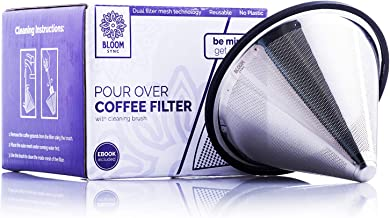 Pour Over Coffee Filter – Metal Coffee Filter Paperless – Stainless Steel Reusable Drip Cone for Chemex, Hario V60, Carafes and Drip Coffee Makers
