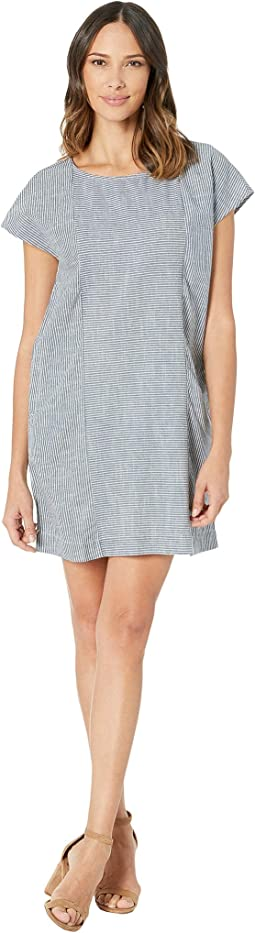 Button Back Shift Dress in Ticking Stripe