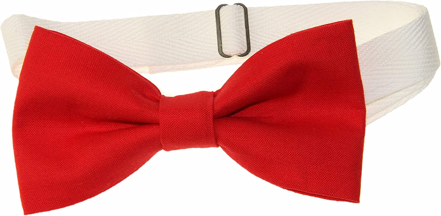 Men's Poppy Red Pre-Tied Cotton Bow Tie On Adjustable Twill Strap