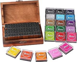 Dedoot Vintage Alphabet Stamps Set with Ink Pad, 70pcs Vintage Wooden Rubber Letter Number and Symbol Stamp, 20 Colors Stamp Ink Pad for Card Making DIY Crafting Scrapbooking
