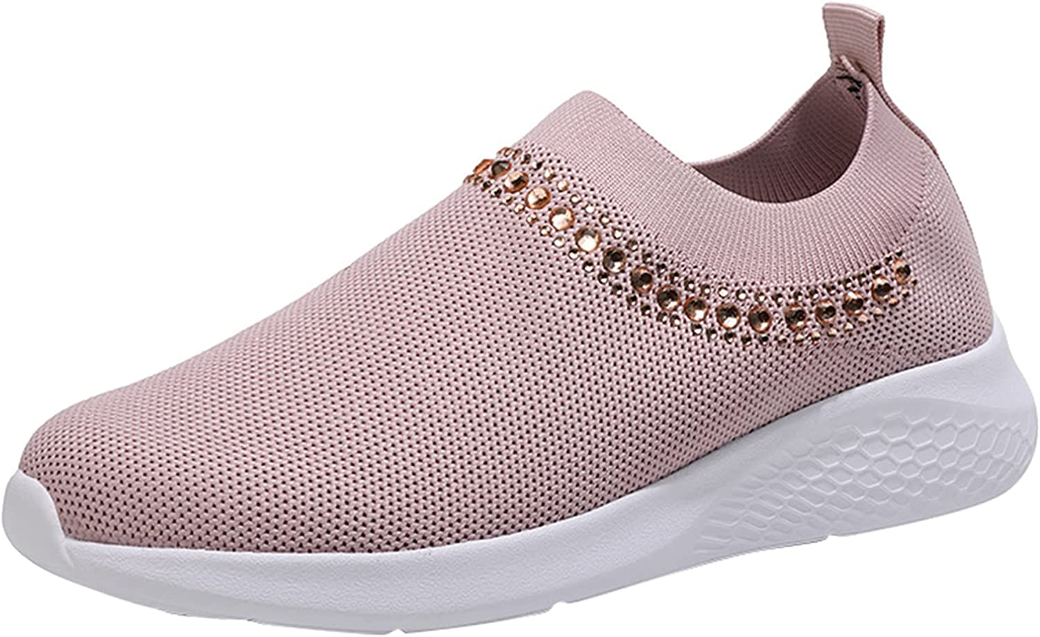 FAMOORE Breathable Mesh Sport Shoes for Women Slip-on Lace Up Sneakers Lightweight Outdoor Workout Shoes