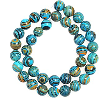 45pcs 8mm Blue Malachite Beads Bulk for Jewelry Making Adult Bracelets Necklace Round Beads for Crafts Projects