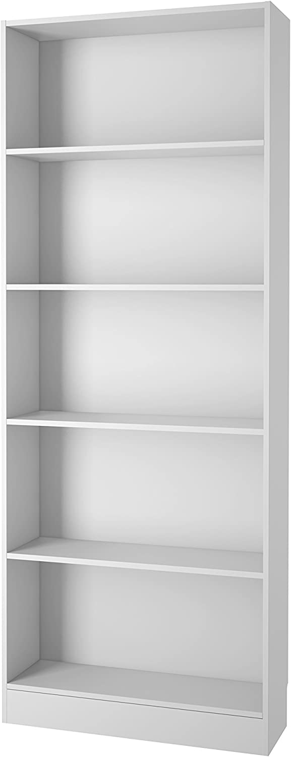 Tvilum 7177749 Element Wide 5 Shelf Bookcase, Tall, White