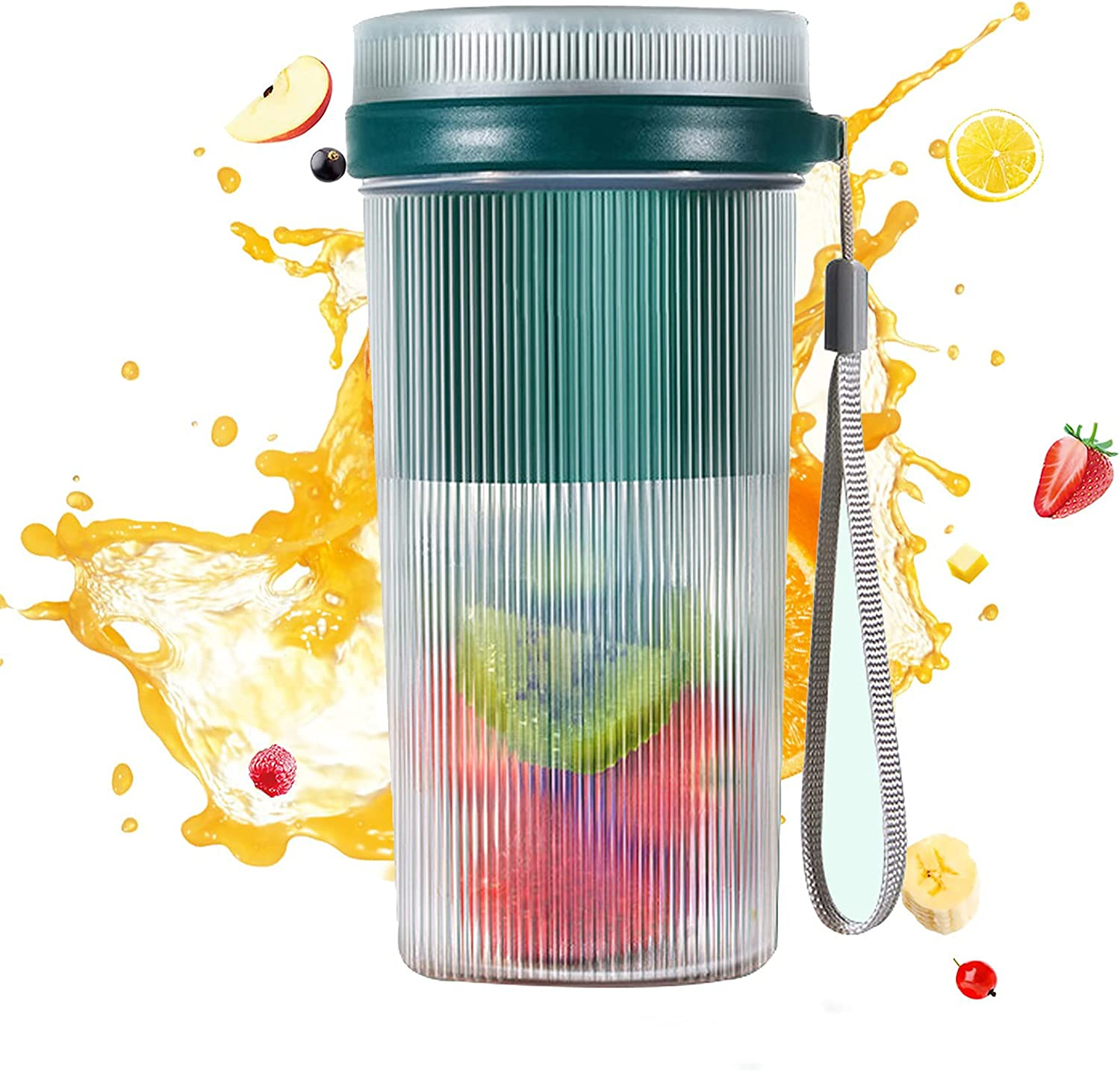 Portable Blender, Portable Blender for Shakes and Smoothies , Blender on the go , Blender Cup Portable , PIQIUQUE Personal Size Blenders for Travel and Outdoor ( Navy Green )