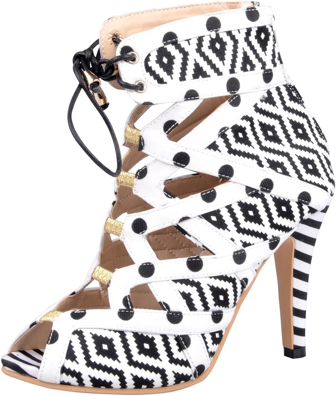 Calaier Womens Cawalk Bridal Sexy Wedding Plus Size Peep Toe 10CM Stiletto Self Tie Sandals shoes