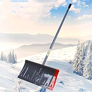 Snow Shovel with D Grip Metal Handle, Easy Assemble Snow Pusher, for Snow, Ice, Slush Removal from Your Driveway, Entry