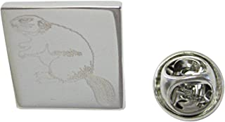 Silver Toned Etched Beaver Lapel Pin