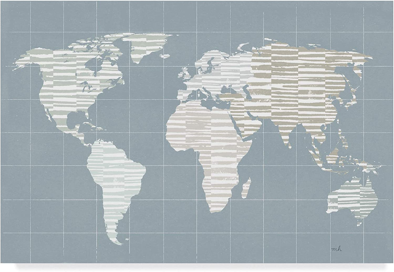 Trademark Fine Art Calm World Map Grid by Moira Hershey, 12x19