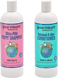 Earthbath Ultra-Mild Tearless Puppy Shampoo, Wild Cherry Scent, 16 Ounces Oatmeal and Aloe Conditioner for Dogs and Cats, ...