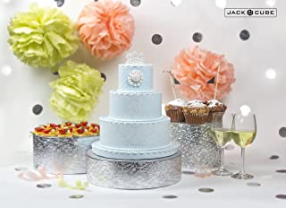 Jack Cube Cake Stand Set of 3, Cupcake Display Supplies Tray Plate for Decorative Party(8inch, 10inch, 12inch / Silver) - MK197ABCS